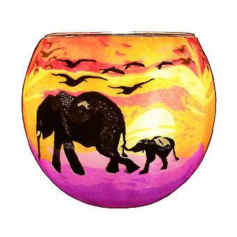 Kerzenfarm 11cm Glowing Glass, Elephant and Baby