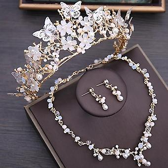 Luxury Crystal Beads, Pearl Butterfly Costume Jewelry Sets, Floral Rhinestone,