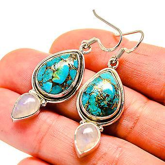 """Azul cobre compuesto turquesa, arco iris piedra lunar pendientes 2"""" (925 plata de ley) - hecho a mano Boho Vintage joyería EARR410836"""