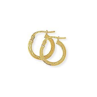 Jewelco London Ladies 9ct Yellow Gold Engraved Square Hoop Creole Earrings 14mm