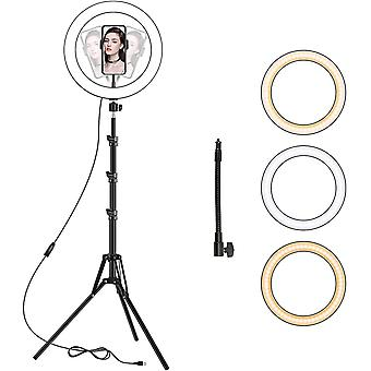 LED Ring Light with Tripod Stand, 10 inch Dimmable Ring Light, 3 Color Modes
