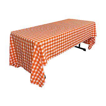 La Leinen Polyester Gingham kariert 60 von 144-Zoll rechteckige Tischdecke, weiß und Orange