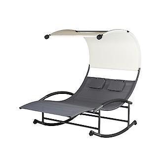 Duo záhradná stolička hojdacie kreslo - 140x200x178 cm -Čierna