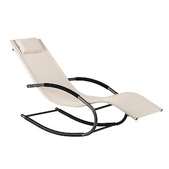 Jardín de sillas mecedoras - blanco 140x63x89 cm