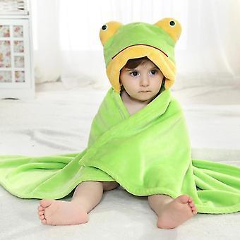 Zöld béka állat cosplay kapucnis baba flanel fürdőlepedő
