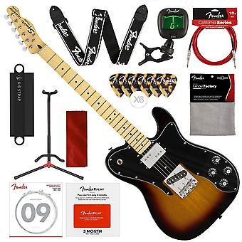Squier by fender vintage modified telecaster custom electric guitar - 3-color sunburst - maple fingerboard with stand, strap, tuner and deluxe bundle