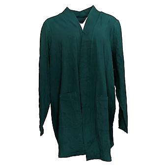 Denim & Co. Women's Sweater Plus Open Front Cardigan Pockets Green A388935