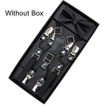 Leather Suspenders Straps, Bow Tie, Trousers Braces, Elastic Adjustable