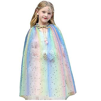 Girls Mermaid Sequins Cloak Glistening Princess Cape Fancy Dress For Halloween