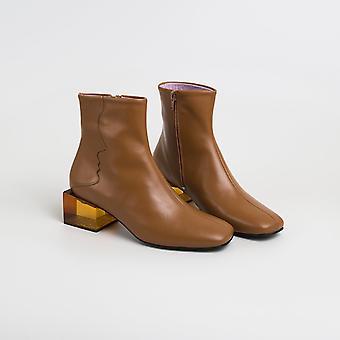 || Sample Sale || Statuette - Camel Leather Acrylic Heel Boots
