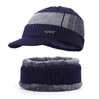 Winter Warm- Hat Knit Fleece Lined, Billed Beanie With Brim Cap