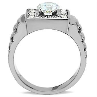 Hombres anillos de zirconia cúbica de acero inoxidable Tk347
