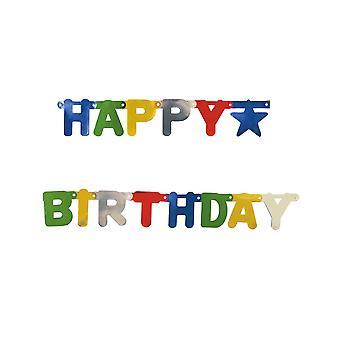 Guirlande métallisé Happy Birthday multicolore 1,56 m