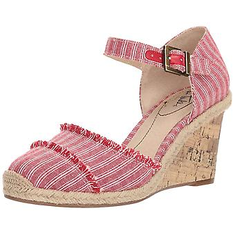 LifeStride Womens Leena Fabric Closed Toe Ankle Strap Wedge Pumps