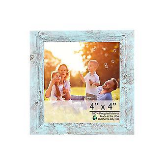 "4"" x 4"" Rustic Farmhouse Light Aqua Blue Wood Frame"
