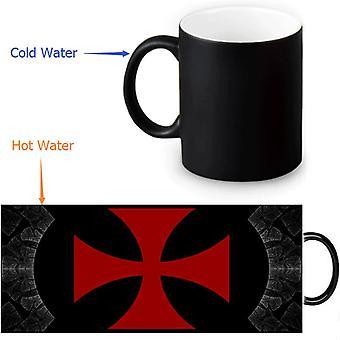 Heat morphing black knights templar mug