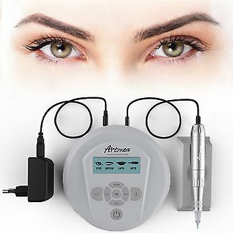 Maquillage permanent Sourcil Machine de tatouage avec panneau de commande numérique Dispositif de micropigmentation Stylo à lèvres Artmex V6 avec 5 aiguilles GF