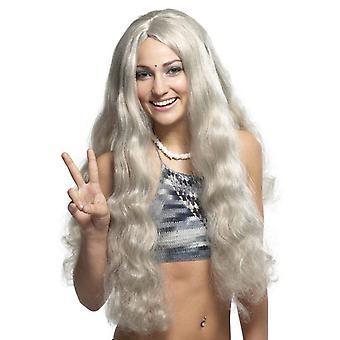 Hippie hippy blondína šedá 70s 60s muži ženy kostým Parochňa