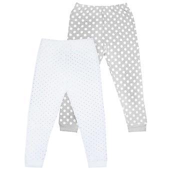 Flickor Pyjamas Bottnar 2 Pack | Barn Dotty Cotton White, Grey & Pink Loungewear Outfit | Pjs-kläder för barn