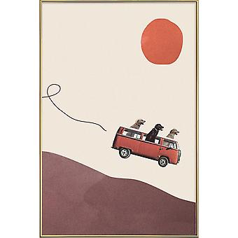 JUNIQE Print - Adventure Gang - Cars Poster in Cream White & Red