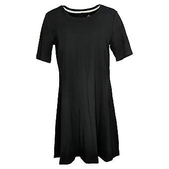 Isaac Mizrahi Live! Women's Petite Top Essentials Pima Cotton Black