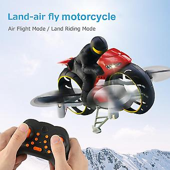 Motorcycle Headless Mode Remote Control Four axis Drone Racing Stunt Toys For Children Gift(Red)