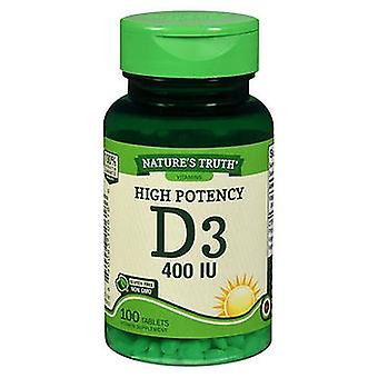 Nature's Truth Nature'S Truth High Potency D3 Vitamin Tablets, 400 IU, 100 Tabs