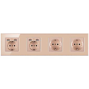 Glass Panel Four-slot Power Socket Without Pins With 4 Usb Charging Port