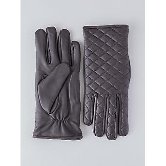 Laura acolchado de los guantes de cuero en color marrón