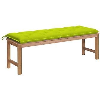 vidaXL puutarhapenkki vaaleanvihreä tyyny 150 cm massiivipuu tiikki