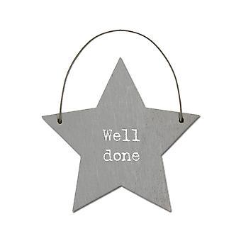 Well Done - Mini Wooden Hanging Star - Cracker Filler Gift