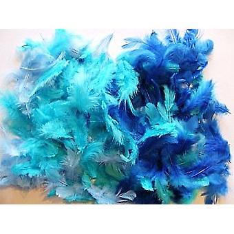 10g Gemengde blauwe veren voor ambachten