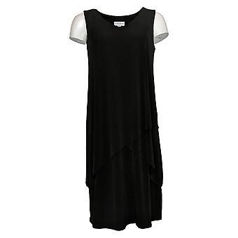 Susan Graver vestido regular de punto líquido sin mangas negro A377870