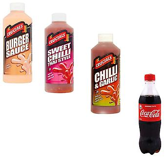 Crucials KIT Made of 4 products, Crucials Thai Sweet Chilli, Chilli and Garlic, Burger Sauces 500ml and 3 x Coca-Cola Original Bottle 500ml