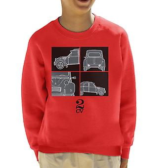 Citroen 2CV Svart Glamour Näring Barns Sweatshirt