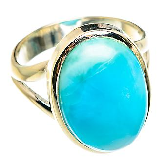 Larimar Ring Size 6 (925 Sterling Silver)  - Handmade Boho Vintage Jewelry RING77226