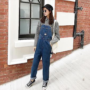 Vintage High Waist Jeans Overalls Women Big Pockets Denim Romper Jumpsuits