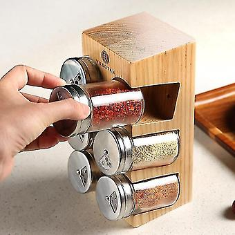 Storage tanks set of eco friendly wooden seasoning spice jars with display stand