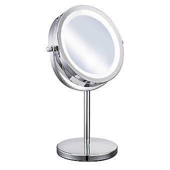 Portatile formato 5x ingrandimento trucco viso cosmetico specchio rotondo forma led luce donna desktop