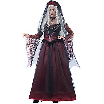 Mexican Day Of The Dead Fancy Dress Ball Costume Halloween Flower Fairy Ghost Bride Acting Uniform