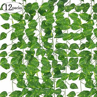 Foglie Ghirlanda Piante artificiali, 12 confezioni Piante appese Finte viti Seta Edera Foglie Di Seta Verde Ghirlanda (lvluo)