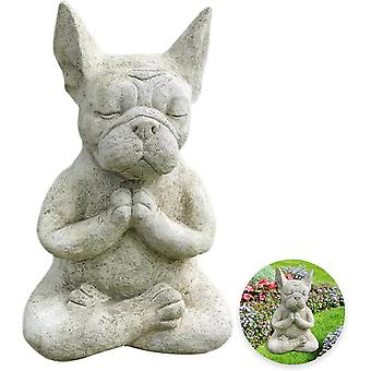 Französische Bulldoggen-Gartenstatue, Meditationshundefiguren, Harzhundeskulptur Tierstatue, Zen-Gartendekorationen im Freien