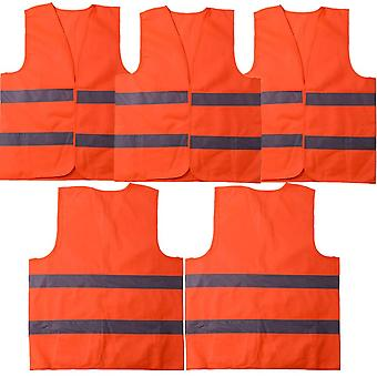 5 Pack High Visibility Reflective Safety Vest Vests Pour Chauffeur Jardinier Police Cleaner Orange