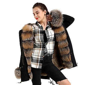 Mimigo Natürliche und echte Pelzmäntel Mittellange Frauen Echte Fuchsfell Parka Kapuze Schwarze Jacke mit abnehmbare Rex Kaninchen Pelz Liner Baumwolle Ärmel