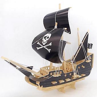 Venalisa 3d Pirate Boat Model Diy Wooden Kit Ship Wooden Model Puzzle Edukacyjne dzieci bloki (czarny)