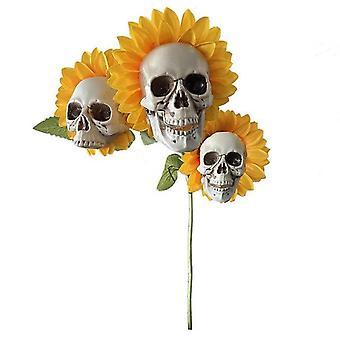 Halloween Sunflower Skeleton Head Decorations