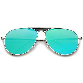 Large Classic Teardrop Crossbar Mirrored Flat Lens Aviator Sunglasses 56mm