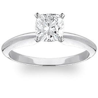 1ct Kissen Diamant Solitär-Ring 14K Weissgold