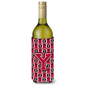 Letter Y Football Crimson and White Wine Bottle Beverage Insulator Hugger
