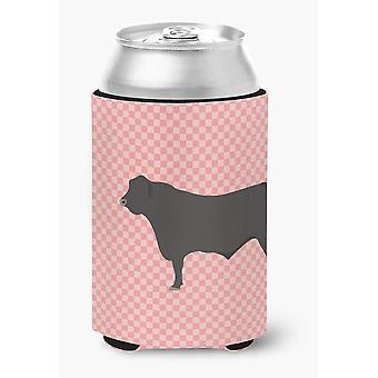 Carolines Treasures  BB7828CC Black Angus Cow Pink Check Can or Bottle Hugger